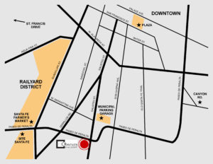 map of Obscura Gallery location in downtown santa fe