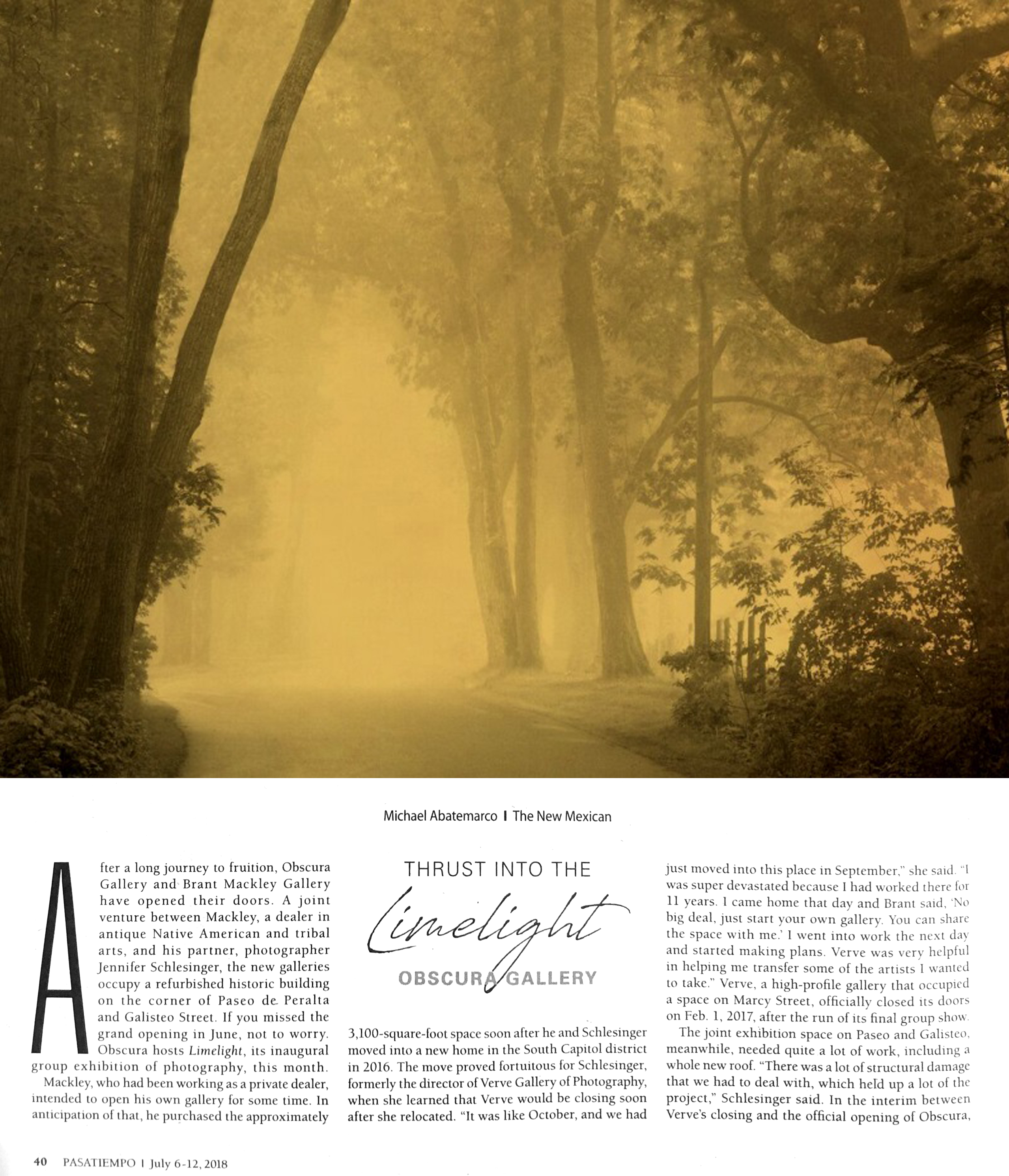 pasatiempo article on our inaugural exhibition limelight obscura