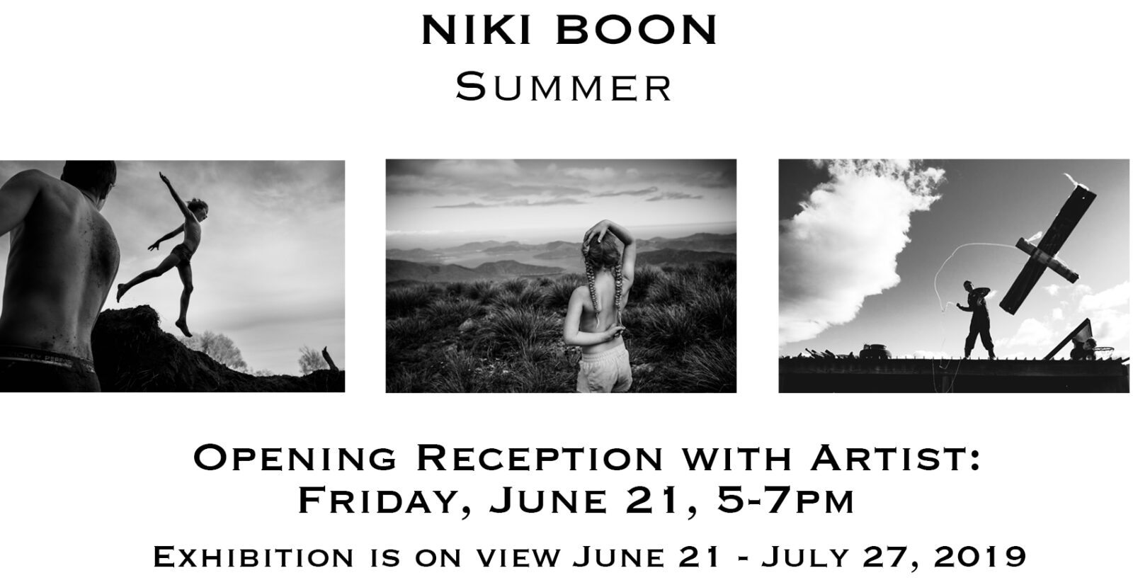 exhibition announcement for niki boon's show, summer, opening on friday, june 21 and on view through July 27, 2019.