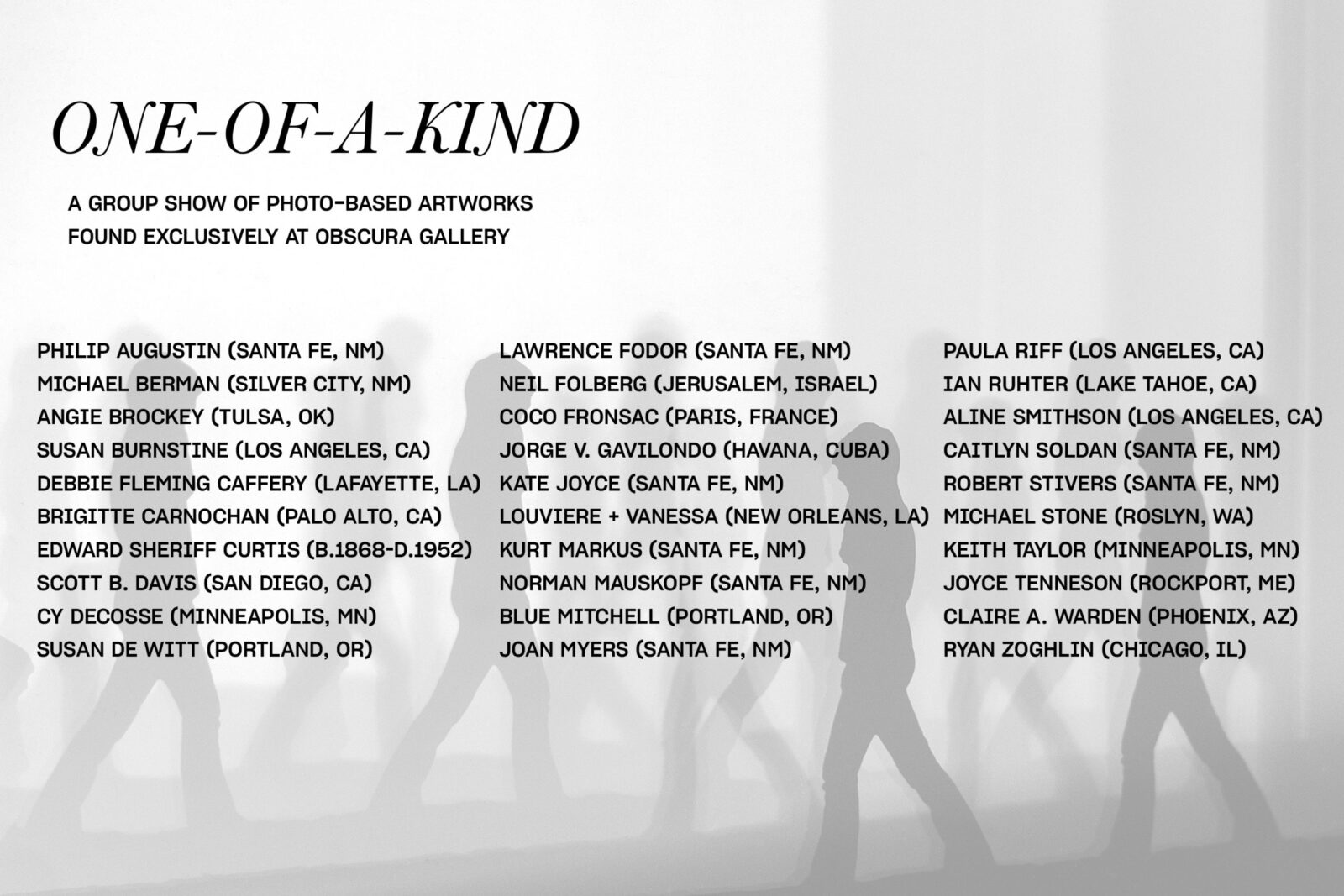 Image of list of artists for one of a kind show.