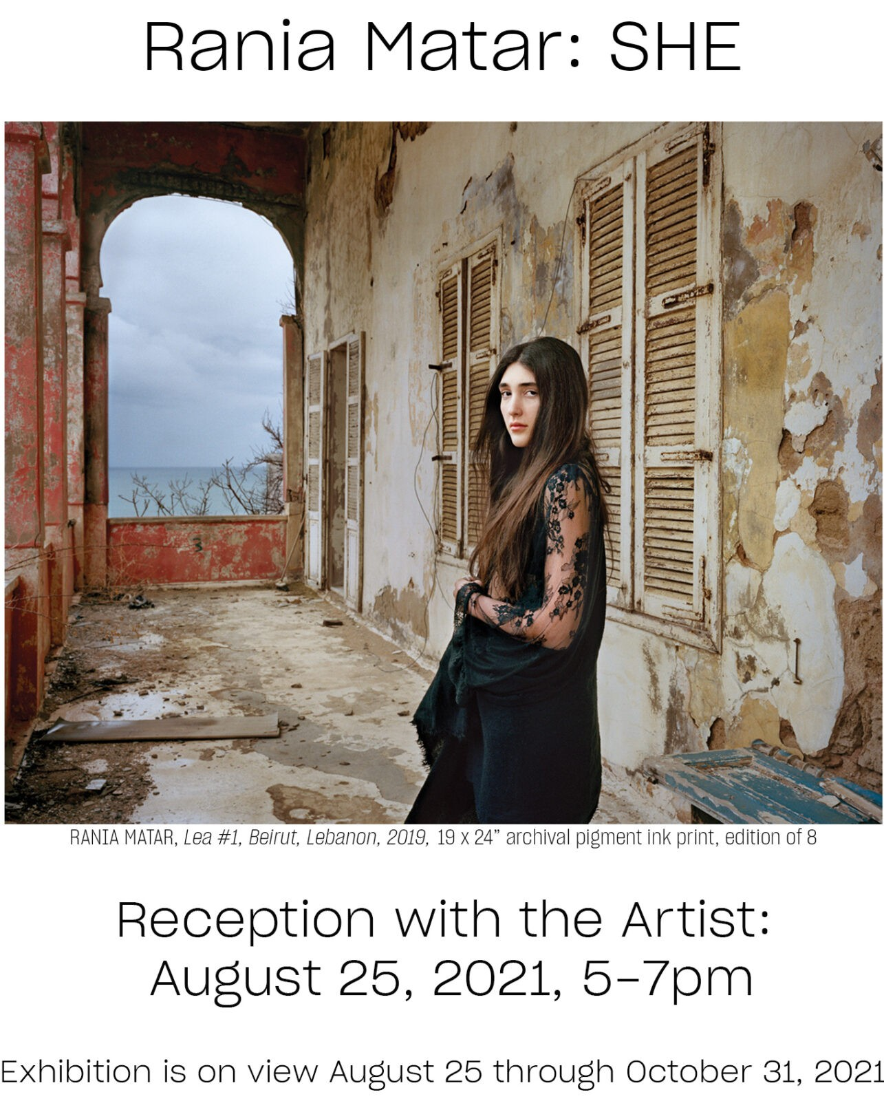 Exhibition with Rania Matar: She, Reception with the artist, August 25, 5-7pm at Obscura Gallery